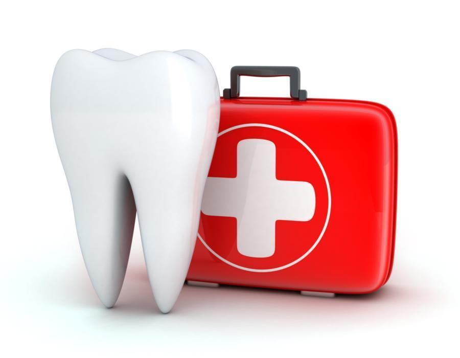 graphic of a tooth with a first aid kit